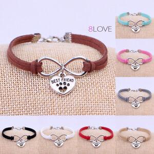 Bracciale-Infinito-Cane-Gatto-Zampa-Cuore-Amicizia-Charm-braccialetto-Uomo-Donna