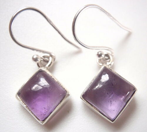 Small Amethyst Squares 925 Sterling Silver Dangle Earrings