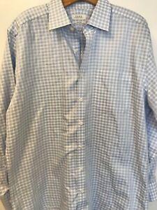 Enro Men/'s Big and Tall Odessa Check Dress ShirtBlue Spread Collar