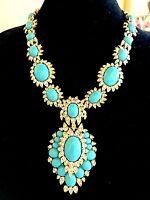 Joan Rivers Gold Turquoise Cabochon Rhinestone Royal India Necklace Pendant