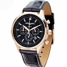 Jorg Gray JG6500-22 Chrono Rose Gold Brown Leather Black Dial Strap Men's Watch