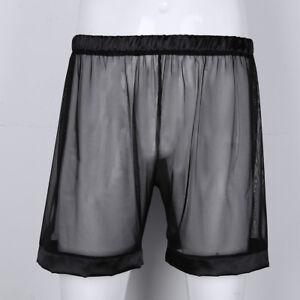 Men/'s See Through Underwear Pouch G-string Boxer Briefs Jockstrap Shorts Bikinis