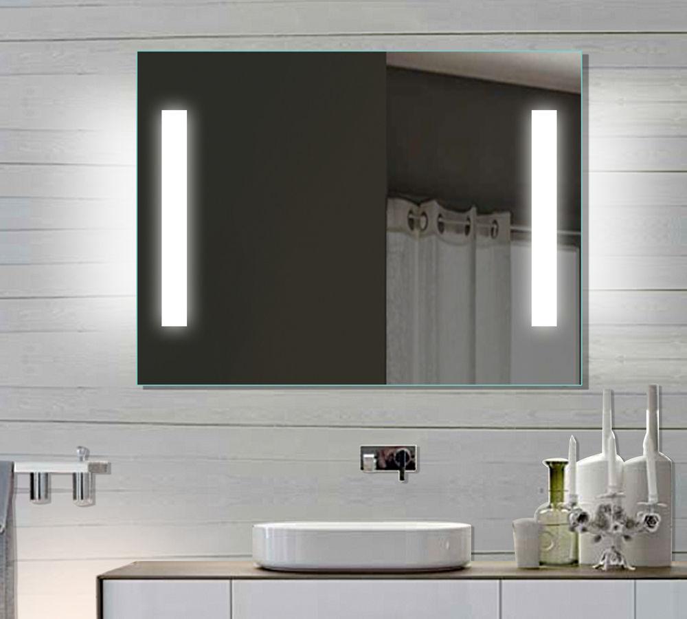 LED beleuchtet kalt weiß licht Badezimmer Badspiegel Wandspiegel spiegel 80 cm