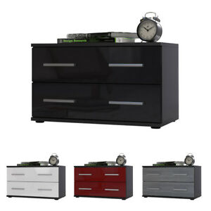 nachttisch nachtschrank 2 sk 35 cm h he 60 cm breit kioto schwarz hochglanz matt ebay. Black Bedroom Furniture Sets. Home Design Ideas