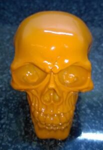 Halloween-Skull-Skeleton-head-Bright-ORANGE-Colour-Ornament-Model-Resin