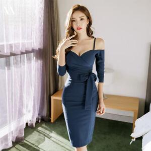 2382ca583625 Caricamento dell immagine in corso Elegante-vestito-abito-corto-tubino-blu -comodo-ginocchio-