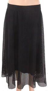 Alfani-Womens-A-Line-Skirt-Deep-Black-Size-Large-L-Mesh-Layover-Midi-69-484