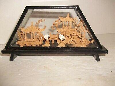 Chinesische Geschnitzt Pagode Brücke Stork Cranes Kork Diorama Kunst In Glas NüTzlich FüR äTherisches Medulla