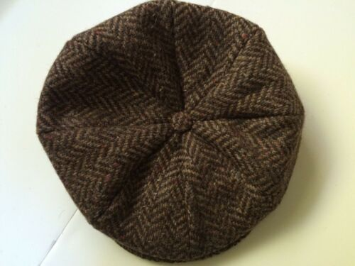 Hanna Hat Irish brown herringbone tweed 8 piece newsboy cap Donegal Ireland