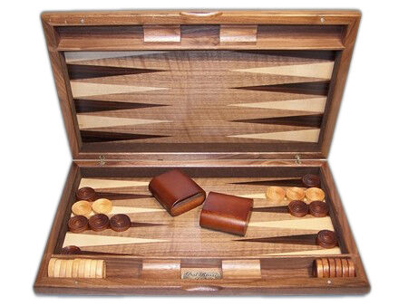 """Dal Rossi Italy Backgammon, walnut burl deluxe 19"""" OUT OF STOCK"""