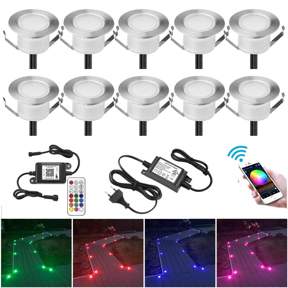 10er Set 61mm Wifi Kontroller APP RGB Bodeneinbauleuchte Außenlampe Einbauspots