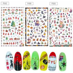 1-Sheet-Xmas-3D-Nail-Art-Stickers-Snowflakes-Snowman-Halloween-Nail-Decals