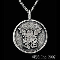 Lovecraft Sterling Silver Round Cthulhu Pendant Necklace, Necronomicon Medallion