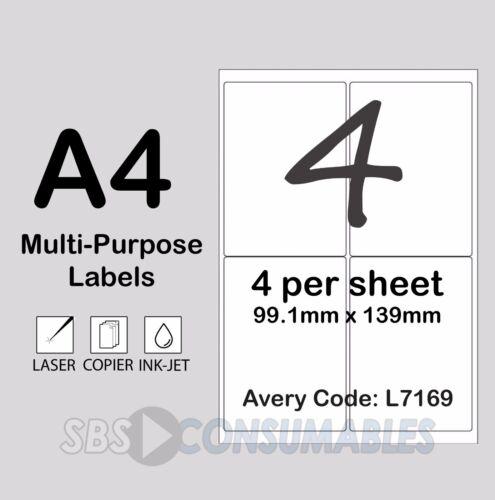 4 per Foglio Etichette indirizzo Stampabile Bianco l7169 100 FOGLI autoadesivo a4