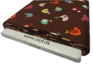 FQ Stof minimisé les oiseaux en tissu de coton Nouveauté Craft Marron Multi-par 1//4 mètre