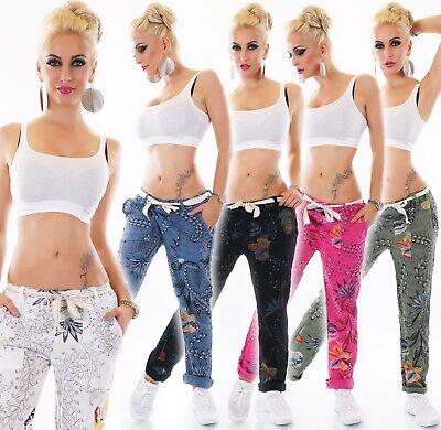 Italy Damen Hose Baggy Boyfriend Jogpants Mega Print Leinen Struktur 36-40 BerüHmt FüR AusgewäHlte Materialien, Neuartige Designs, Herrliche Farben Und Exquisite Verarbeitung