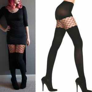 black spandex opaque tights fishnet cut out faux thigh