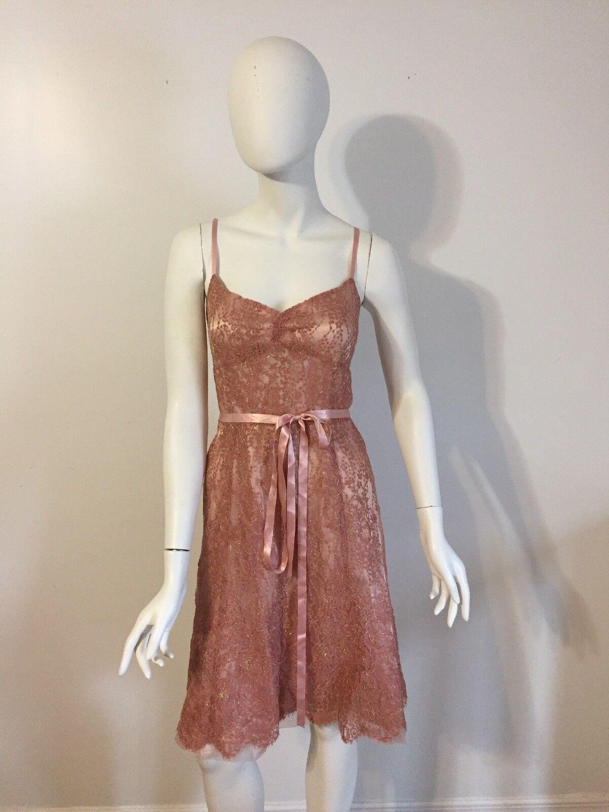 NWOT Ann Taylor Pink & gold Lace Dress Size 12P