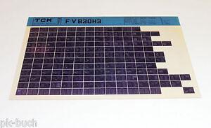 Microfich Spare Parts Catalog Tcm Fork-Lift/Forklift Truck F (V) B 30 H 3`85