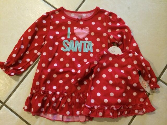 NEW CARTERS I Love Santa BABY GIRL NIGHTGOWN 18M +MATCHING DOLL GOWN ...
