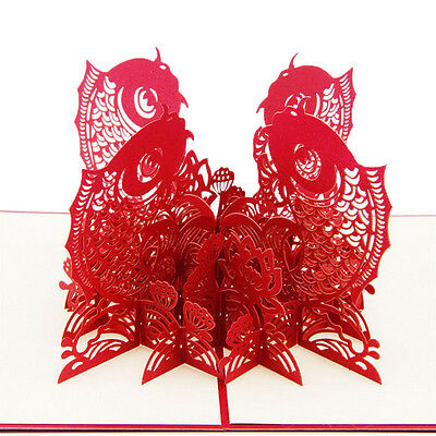 3D Pop Up Greeting Card Fish Handmade Kirigami Cards All Occasion