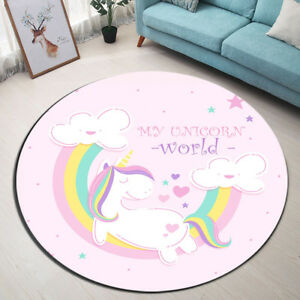 Details About My Unicorn World Round Floor Rug Baby Room Decor Area Rainbow Glitter Carpet