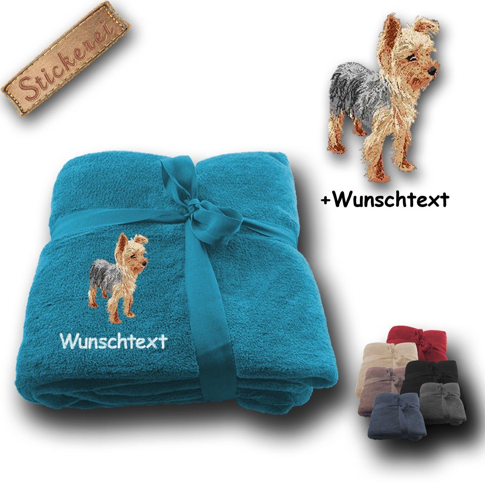 Morbida coperta soffice coperta Yorkshire Terrier 02 + nome, ricamo, 180x130cm