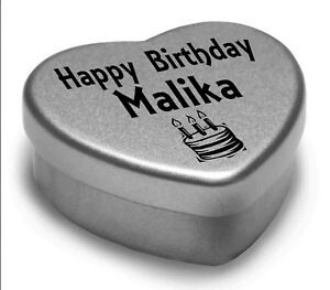 Happy Birthday Malika Mini Heart Tin Gift Present For Malika With