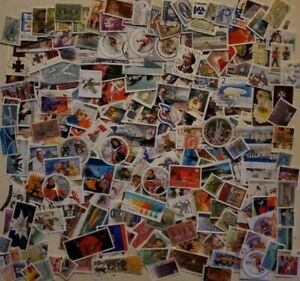 Canada-Kiloware-1000-used-stamps-off-paper-large-and-small