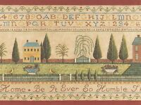 Country Cross Stitch Alphabet Sampler Colonial Wallpaper Border, New, Free Shipp on sale