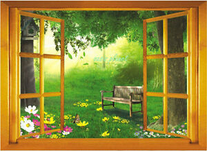 image is loading large 3d garden view window film wall stickers - Garden View Nursery