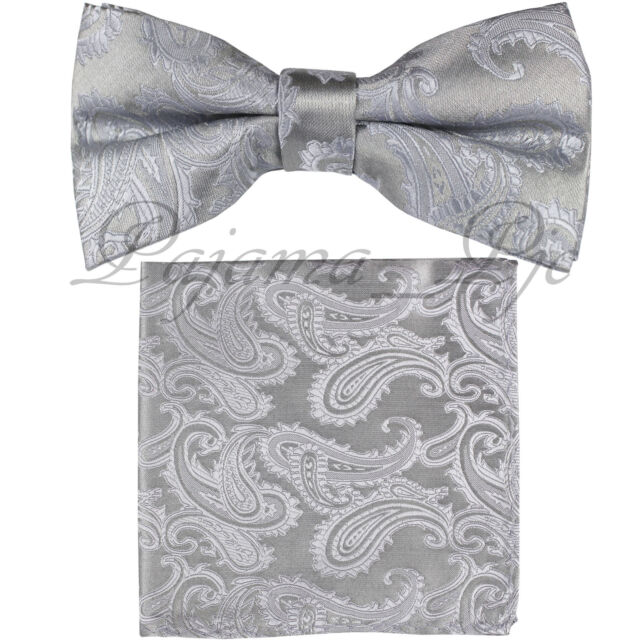 441774348f6c Silver Paisley Pre-tied Bow tie and Pocket Square Hanky Set Formal Party  Wedding
