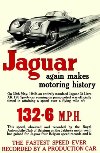 A3//A4 Size Jaguar 1949 advertising Again makes History Advert old Posters