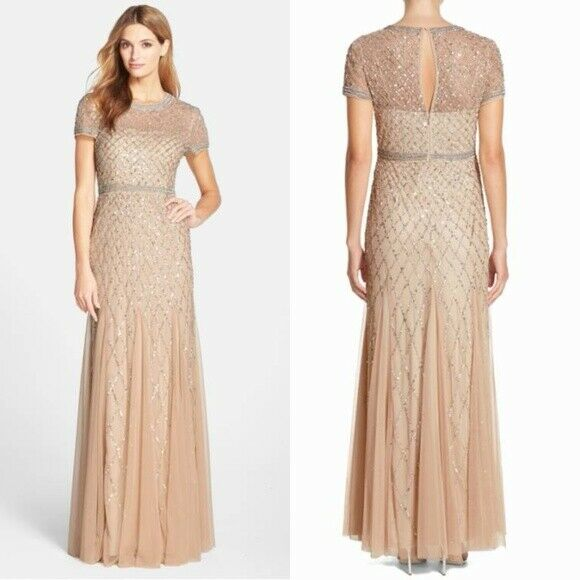 Adrianna Papell criss cross Bead  sequin Godet Maxi Dress