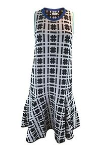 ISSA-Silvia-Hashtag-Printed-Jacquard-Black-White-Blue-Sleeveless-Dress-S