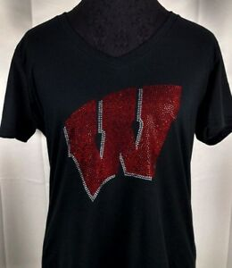 4da2fcd7 Details about Women's Wisconsin Badgers Rhinestone Football V-neck T-Shirt  Tee Bling Ladies