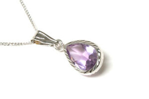 9ct-White-Gold-Amethyst-Pendant-and-Chain-Gift-Boxed-Necklace-Made-in-UK-Xmas