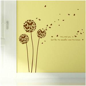 ... Wandtattoo Schmetterlinge Pusteblume Braun  Blume Tiere Pflanze Aufkleber