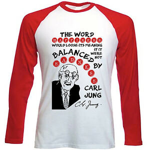 CARL-JUNG-HAPPINESS-QUOTE-NEW-RED-LONG-SLEEVES-COTTON-TSHIRT