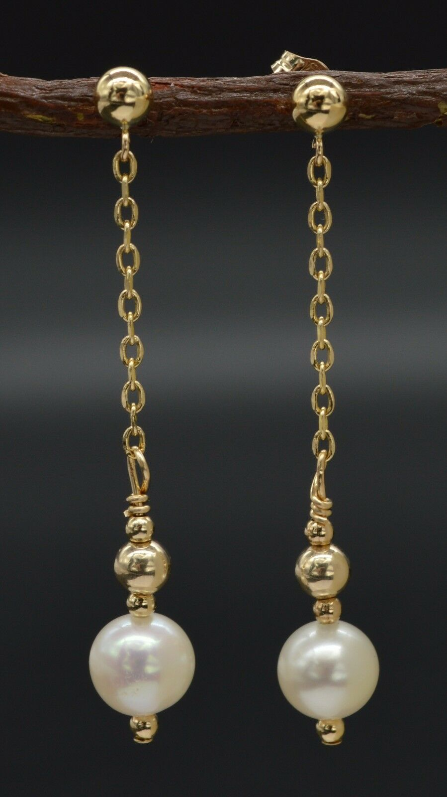 New 14K Solid gold Cultured White 7mm Pearl Drop Dangle Earrings