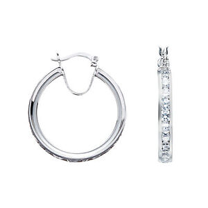 Image Is Loading Silver Hoop Earrings Creole Sterling Cubic Zirconia