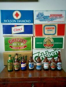 Vintage-Stubby-Canadian-BEER-BOTTLE-with-Original-CASE-Moosehead-Grizzly-Cinci