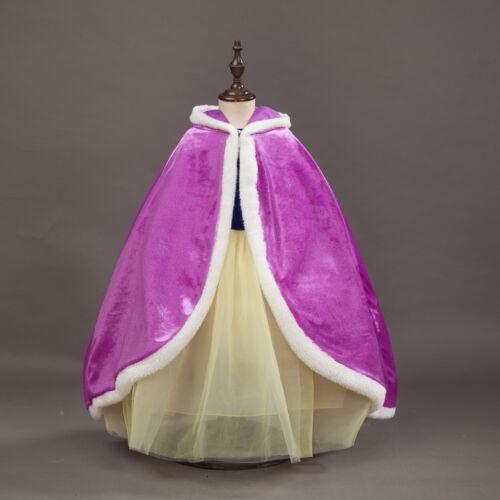 Kids Girls Cape Hooded Cloak Coat for princess Fairytale Fancy Dress Little Hood