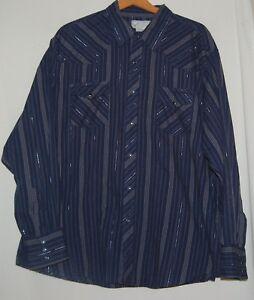 Vintage-70s-Western-Denim-Jean-Wrangler-Wrancher-Shirt-Snap-Top-2X-Navy-Silver