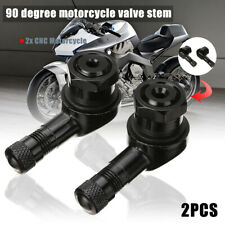 2x Black CNC Motorcycle 90 Degree Angle Wheel Tire Stem Tubeless Valve Aluminum