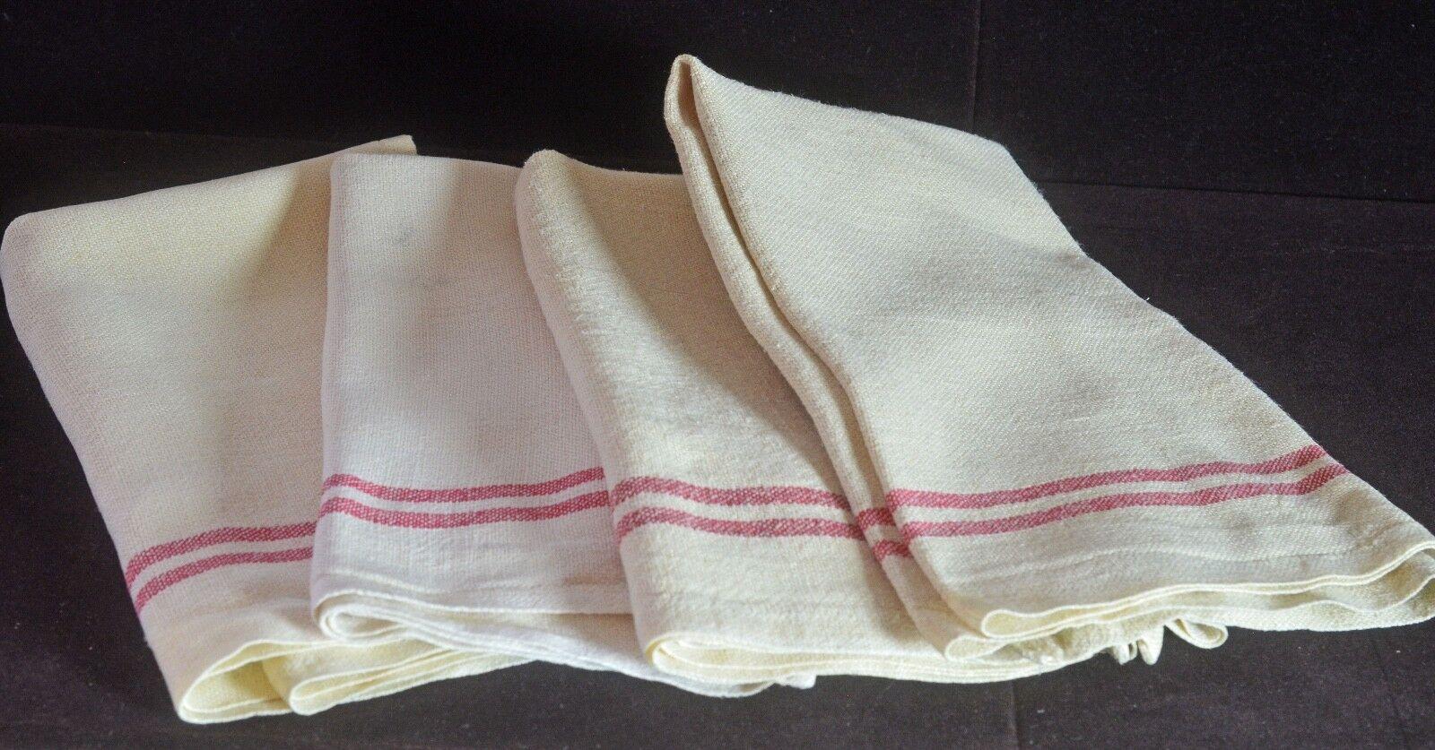 3 Schöne Vintage Französisch Provinziell Schwer Leinen Handtücher mit   Rot