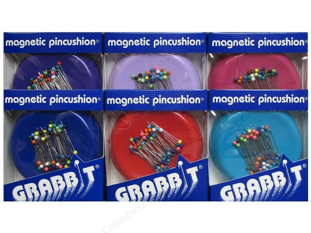 BLUE FEATHER GRABBIT MAGNETIC SEWING QUILTING PIN CUSHION HOLDER + 50 PINS