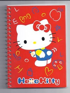 Sanrio-Hello-Kitty-Spiral-Notebook-Red-With-Stickers