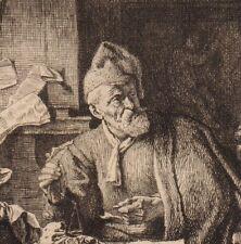 Eau-forte Léopold Flameng Les Peseur d'Or Gabriel Metsu Gold Bank Banque 1873