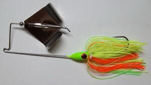 Details about (1) 3/8 Oz  Custom Topwater Buzzbait Lure - (Chart /Orange) -  Bass Fishing-
